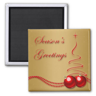 Season's Greetings Gold and Red Tree & Baubles Square Magnet