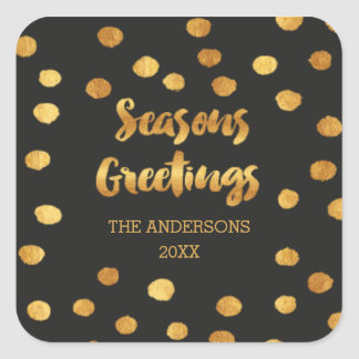 Seasons Greetings gold dots Stickers