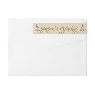 Season's Greetings | Gold Holiday Script Address Wrap Around Label