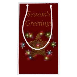 Season's Greetings Gold Star Lighted Small Gift Bag