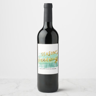 Season's Greetings Green Watercolor Gold Wine Label