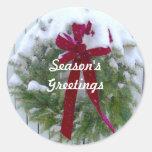 Season's Greetings Holiday Card Envelope Seals Round Sticker