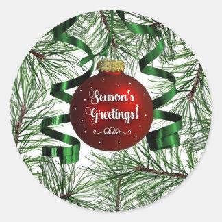 Season's Greetings Holiday Ornament Round Sticker