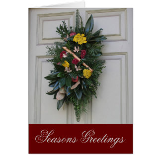 Seasons Greetings Holiday Wreath Card
