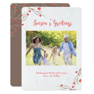 Season's Greetings Holly Berry Card