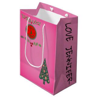 Seasons Greetings Holly Christmas Tree Personalize Medium Gift Bag