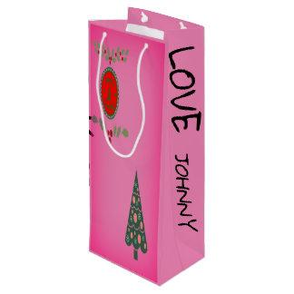 Seasons Greetings Holly Christmas Tree Personalize Wine Gift Bag