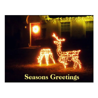 Seasons Greetings Merry Christmas Deer PostCard