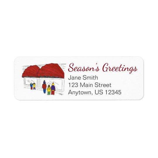Season's Greetings NYC Christmas Shopping Label Return Address Label
