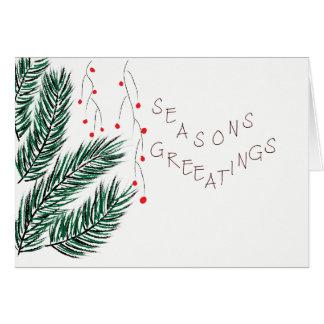 Seasons Greetings Pine Tree and Holly Berries Card