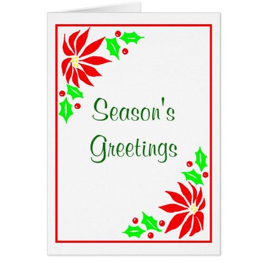 Season's Greeting's  (Poinsettias) Card
