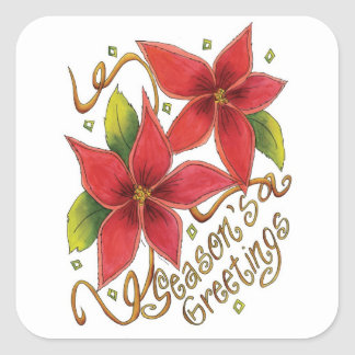 Seasons Greetings Poinsettias Christmas Stickers