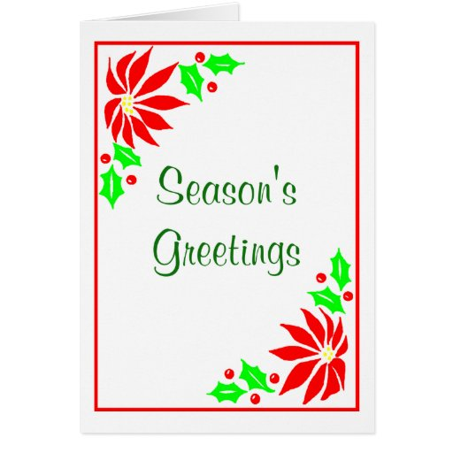 Season's Greeting's  (Poinsettias) Greeting Card