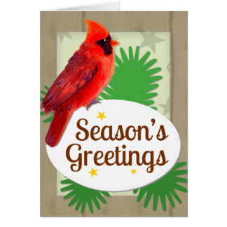 Season's Greetings Red Cardinal Christmas Notecard