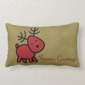 Seasons Greetings  Red Christmas Reindeer Lumbar Pillow