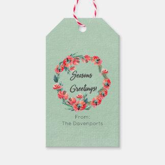 Seasons Greetings Red Floral Watercolor Wreath Pack Of Gift Tags