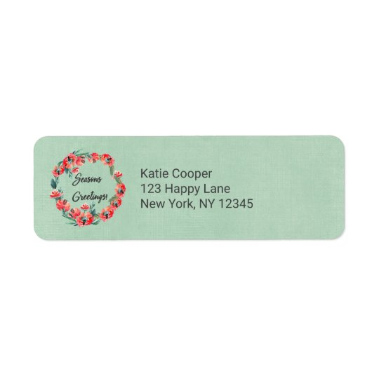 Seasons Greetings Red Floral Watercolor Wreath Return Address Label