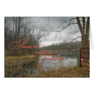 Season's Greetings - Red Gate In The Rain Card