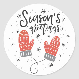 Season's Greetings Red Mittens Holiday Sticker I