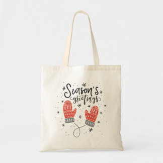 Season's Greetings Red Mittens Holiday Tote Bag