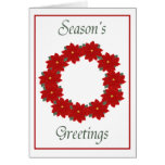 Season's Greetings (red poinsettia wreath) Cards