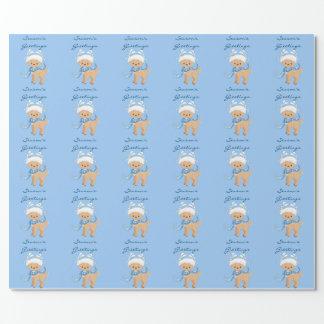 Season's Greetings Reindeer Blue Wrapping Paper