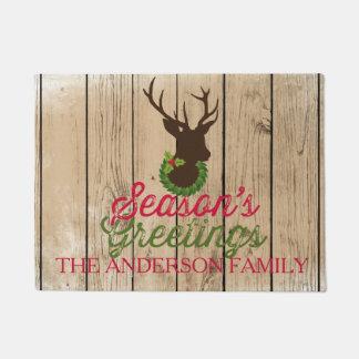 Season's greetings Rustic Deer Silhouette Door Mat