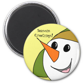 Seasons Greetings Smiling Snowman Magnet
