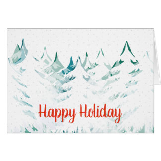 Seasons Greetings Snow Laden Trees White Christmas Card