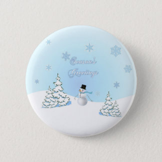 Season's Greetings Snowman Button