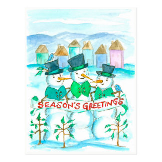 Season's Greetings Snowmen Christmas Postcard