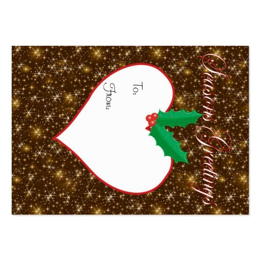 Seasons Greetings sparkly Christmas gift tag Business Card Templates