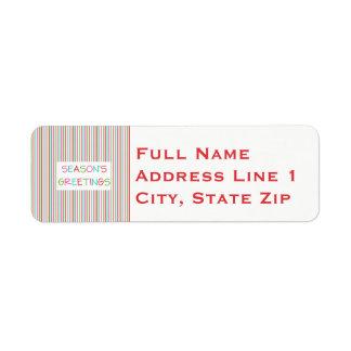 Season's Greetings Striped Return Address Label
