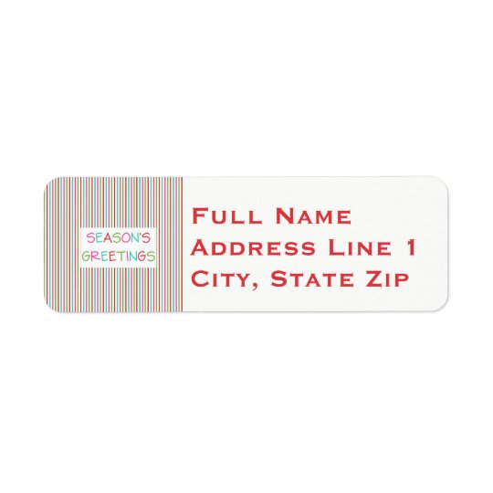 Season's Greetings Striped Return Address Label