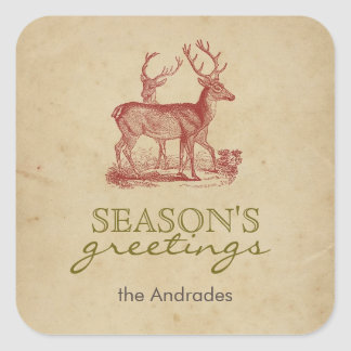 Season's Greetings Vintage Christmas Deer Rustic Square Sticker