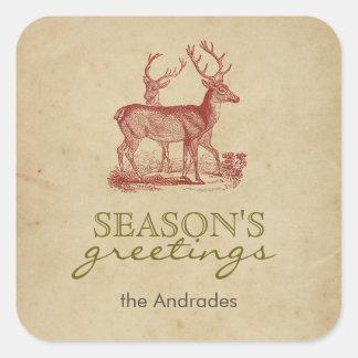 Season's Greetings Vintage Christmas Deer Rustic Square Sticker