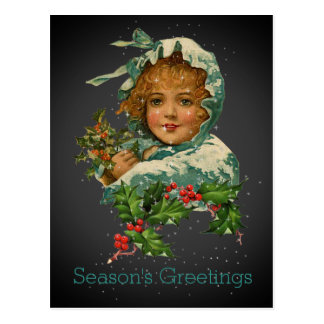 Season's Greetings Vintage Holly Girl Black Postcard