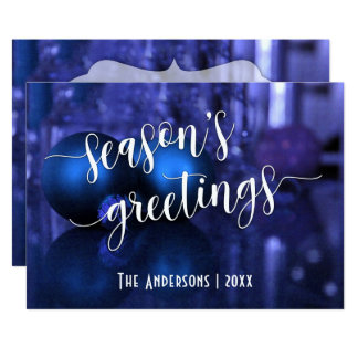 Season's Greetings w/ Blue & Purple Glass Balls Card
