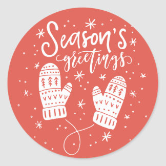 Season's Greetings White Mittens Holiday Sticker