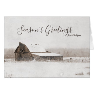 Season's Greetings Winter Michigan Barn Rustic Card