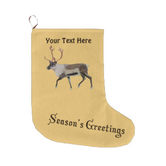 Season's Greetings - Woodland Caribou Large Christmas Stocking