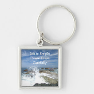 Seaspray on the Rocks; Customizable Silver-Colored Square Keychain