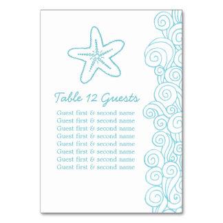 Seastar waves aqua guests Wedding table numbers Table Cards