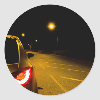 Seat Ibiza on the lonely road Round Sticker