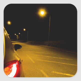 Seat Ibiza on the lonely road Square Sticker