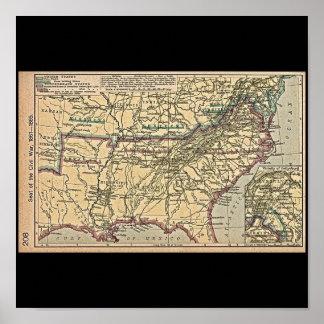 Seat of Civil War, 1861- 1865 Map Poster