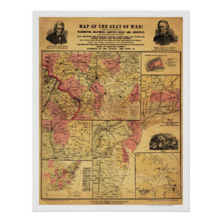Seat Of Civil War Map 1862 Poster
