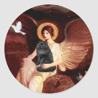 Seated Angel - Black Persian cat Classic Round Sticker
