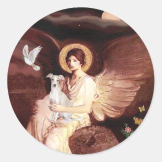 Seated Angel - Italian Greyhound 7 Round Sticker