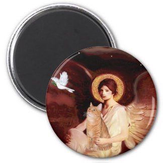 Seated Angel - Orange Tabby SH cat 46 2 Inch Round Magnet